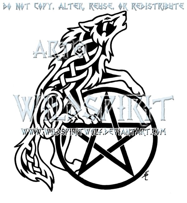 Drawn howling wolf celtic wolf On Pentacle Celtic Howling @deviantART