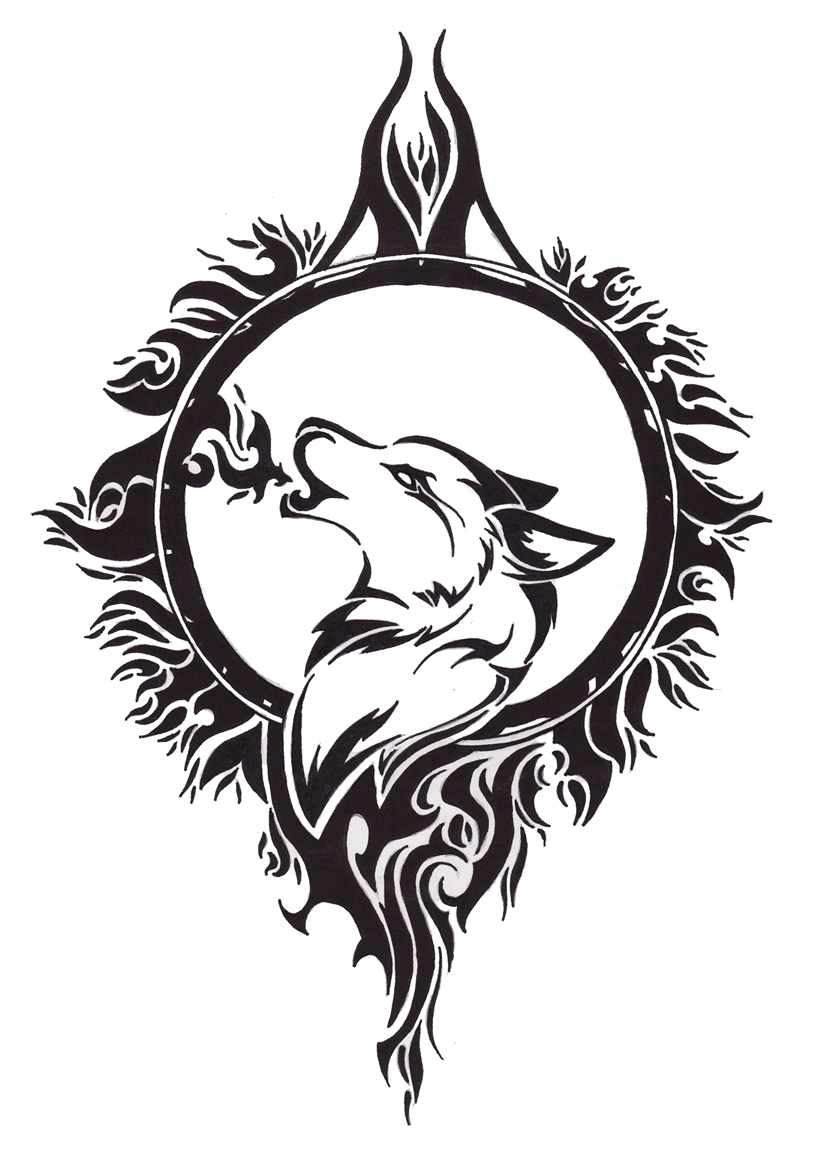 Drawn howling wolf celtic wolf Mist interfaces design Tattoo Designs