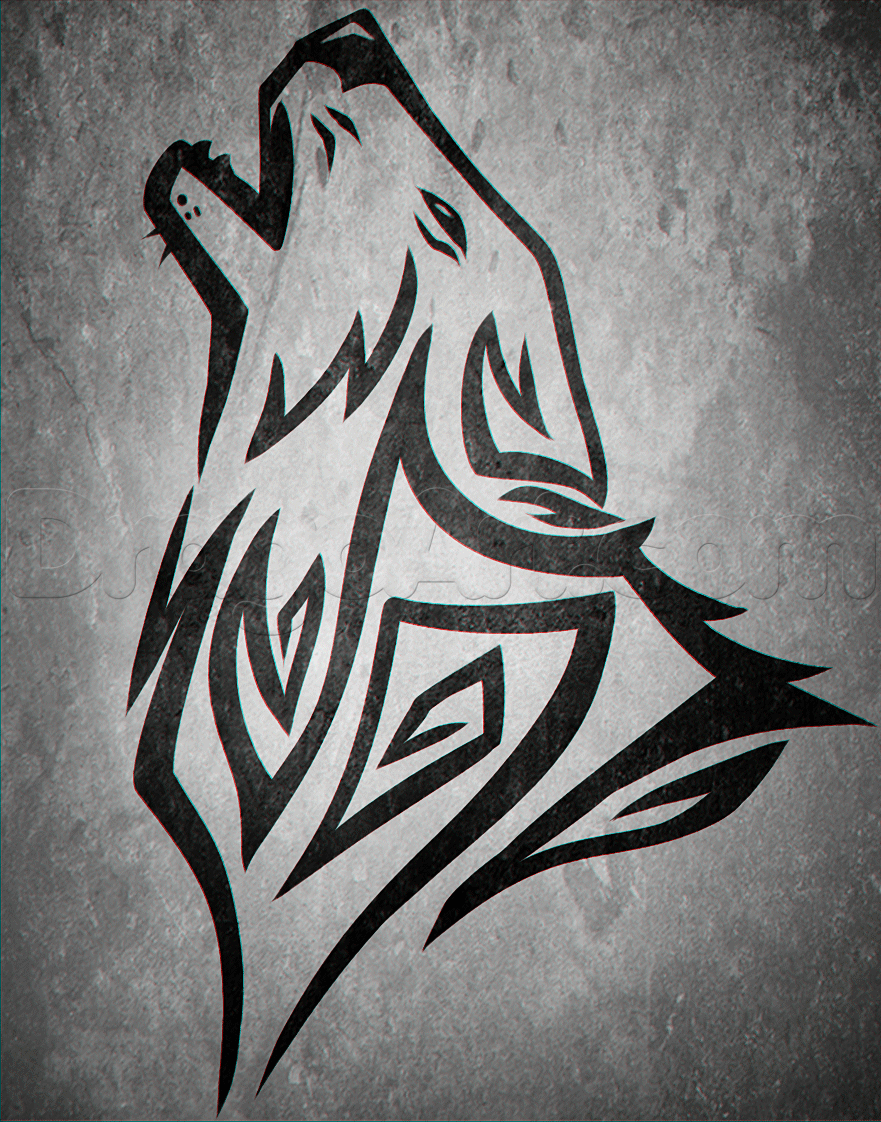 Drawn howling wolf silhouette  Tattoos to a Tribal