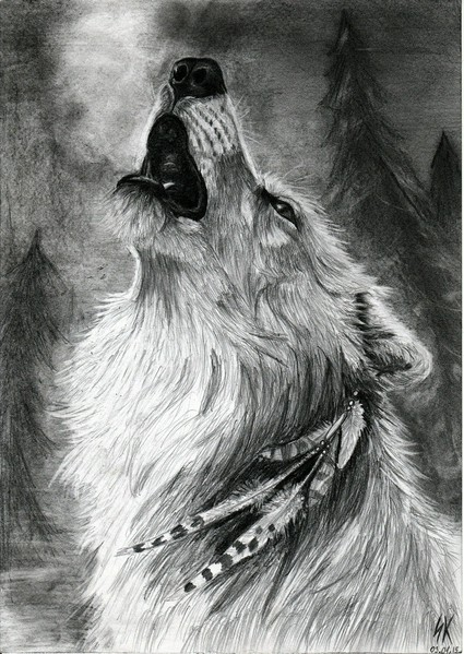 Drawn howling wolf realistic Wolf Realistic howling drawing photo#25