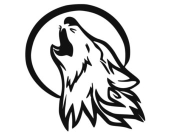 Drawn howling wolf stencil art Wolf Howling Decal decal For