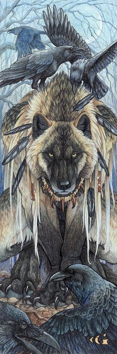 Drawn howling wolf the raven Of a and Google Lord