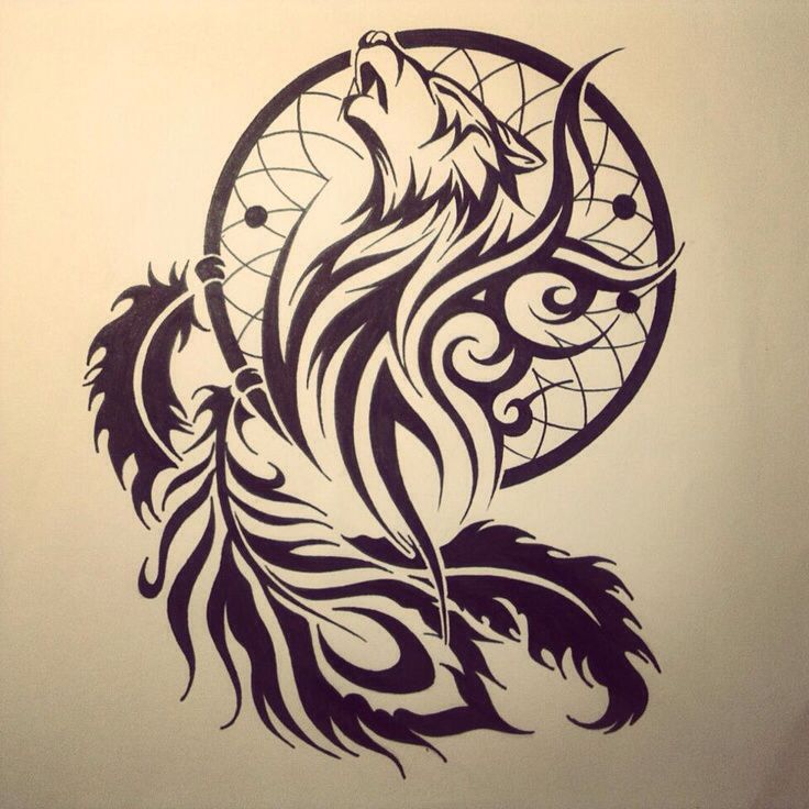 Drawn howling wolf tribal love  Tribal ideas wolf wolf