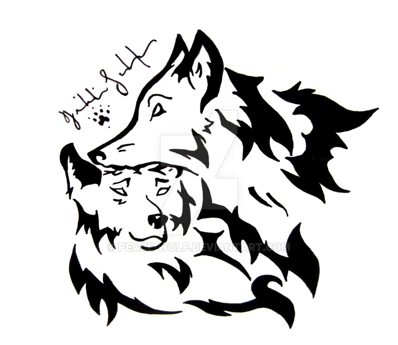 Drawn howling wolf tribal love On by DeviantArt Tribal Wolf