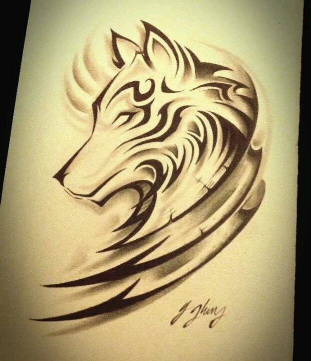 Drawn howling wolf tribal love Images best on WOLF on