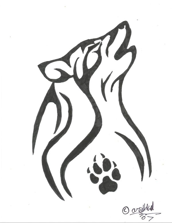 Drawn howling wolf tribal love I'm i I are think