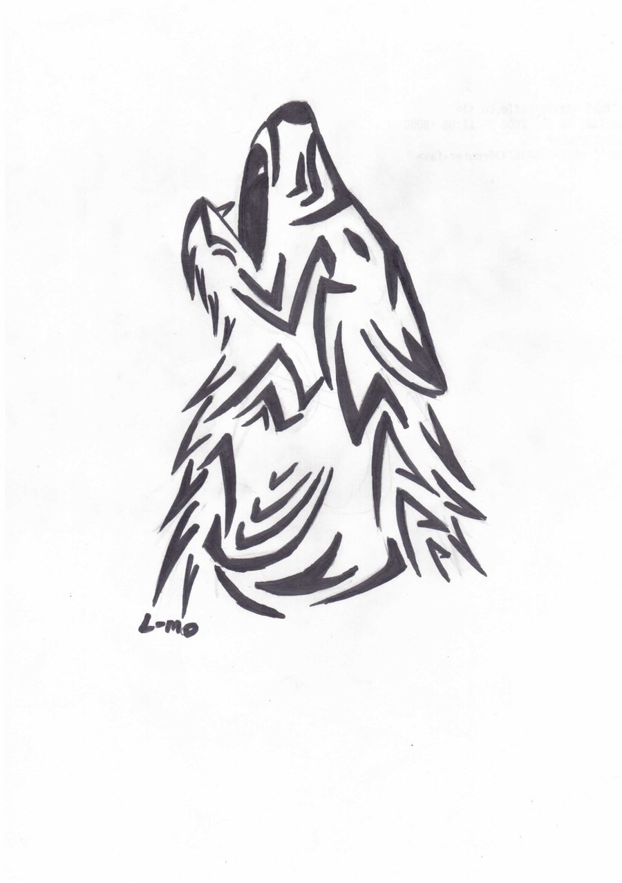 Drawn howling wolf tribal wolf Pinterest wolf Drawing Wolf and