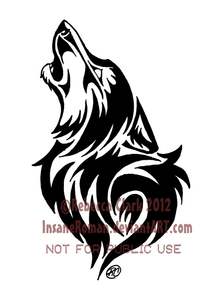 Drawn howling wolf tribal wolf For a out a for