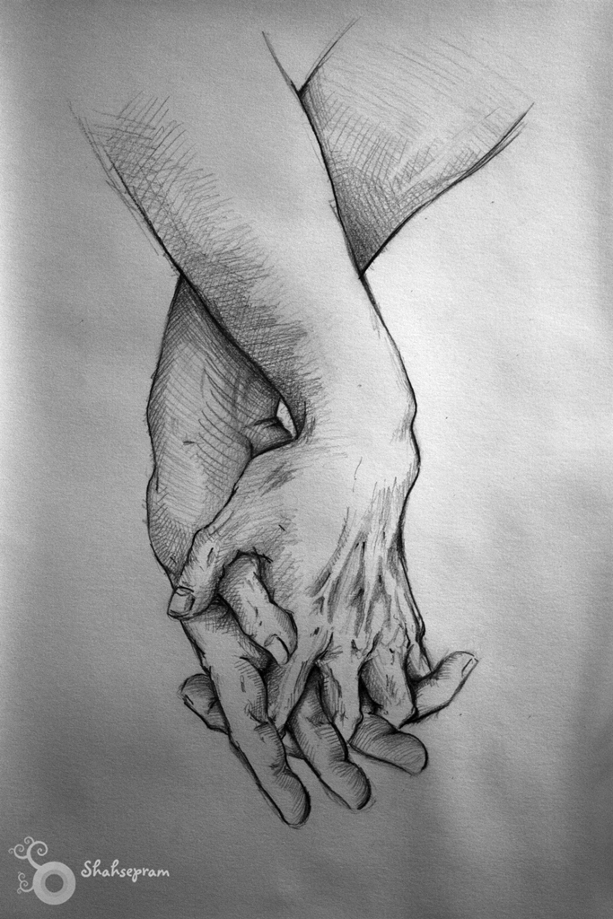 Drawn hug Hands by hug by Shahsepram