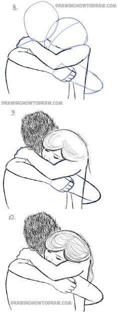 Drawn hug two person Drawing couple to in simple