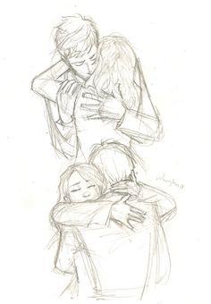 Drawn hug two person Con sketch drawing Google hug