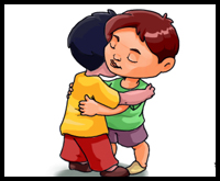 Drawn hug two person Draw People to People Hugging