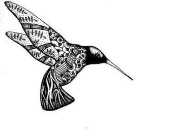 Drawn hummingbird black and white Hummingbird drawing prints and art