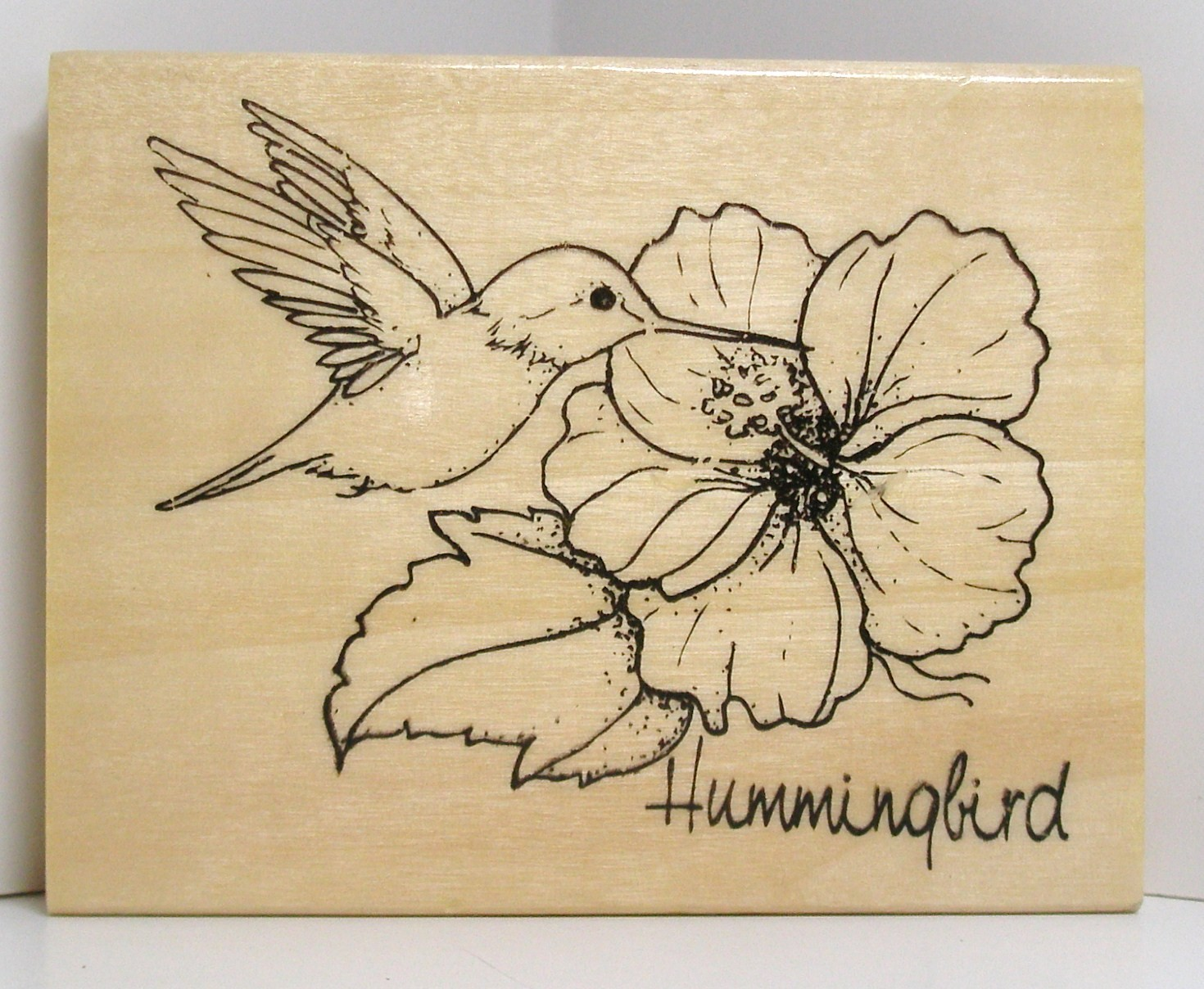 Drawn hummingbird hibiscus HIBISCUS flowers Stamp with Rubber