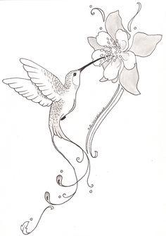 Drawn hummingbird hummingbird flower At somasekhar With Posted Flower