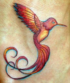 Drawn hummingbird phoenix Blue blue Tattoo #Tattoo pink