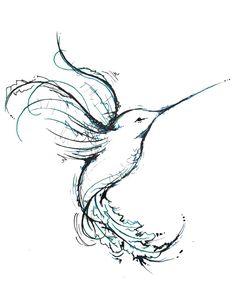 Drawn hummingbird phoenix Line deviantart images Coloring and