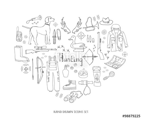 Drawn hunting long gun Vector Sketchy Hand doodle hunt