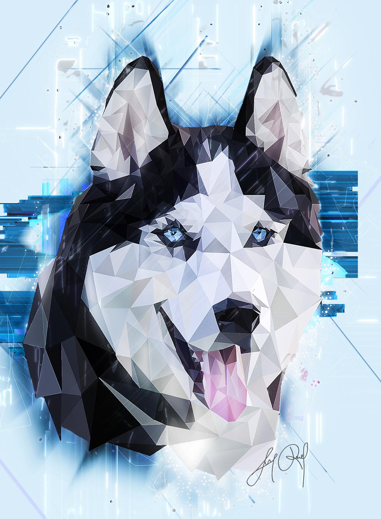 Drawn husky mei Husky  (Low Poly) Siberian