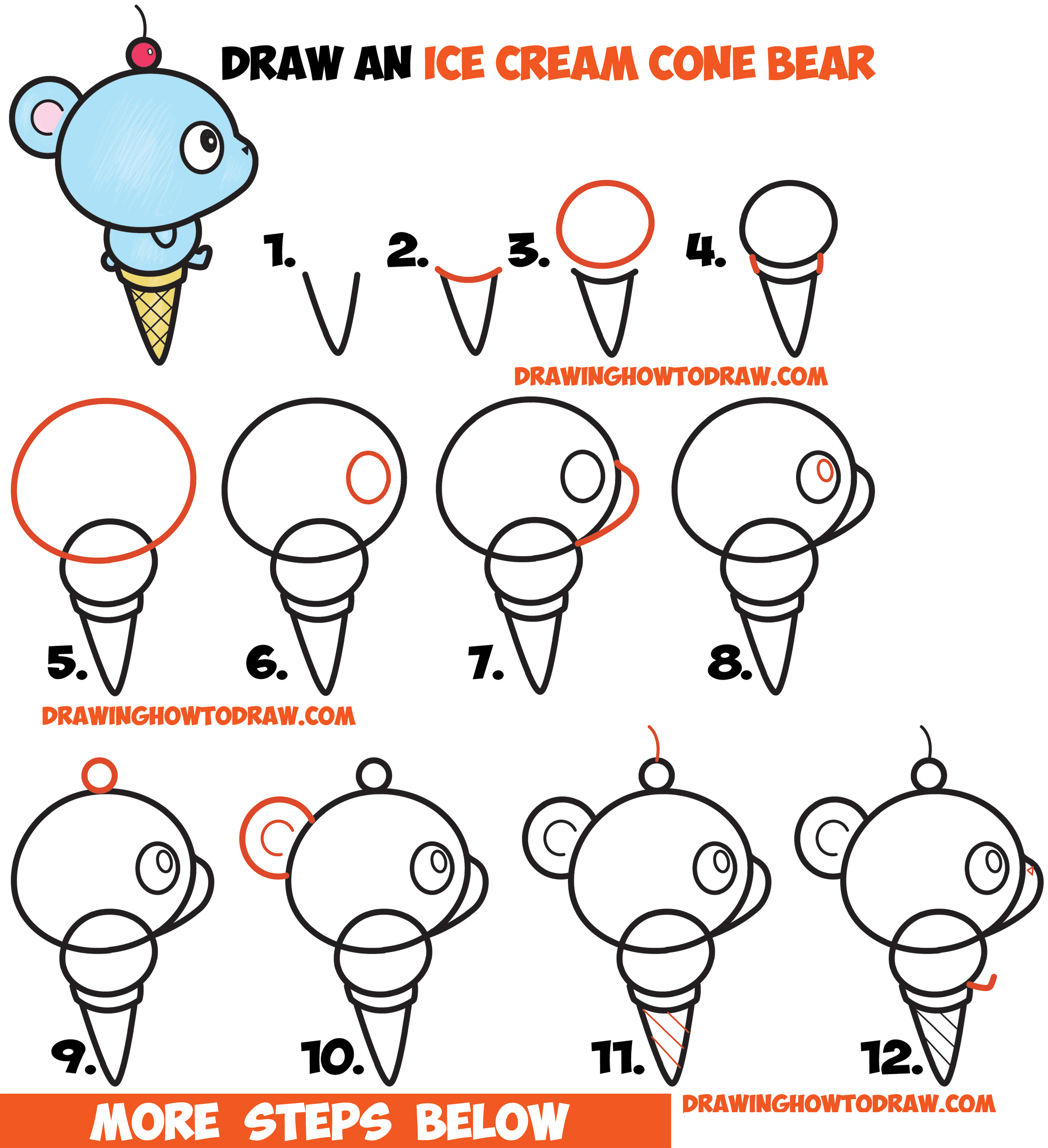 Drawn ice cream beginner step by step Draw on Cute Cone How