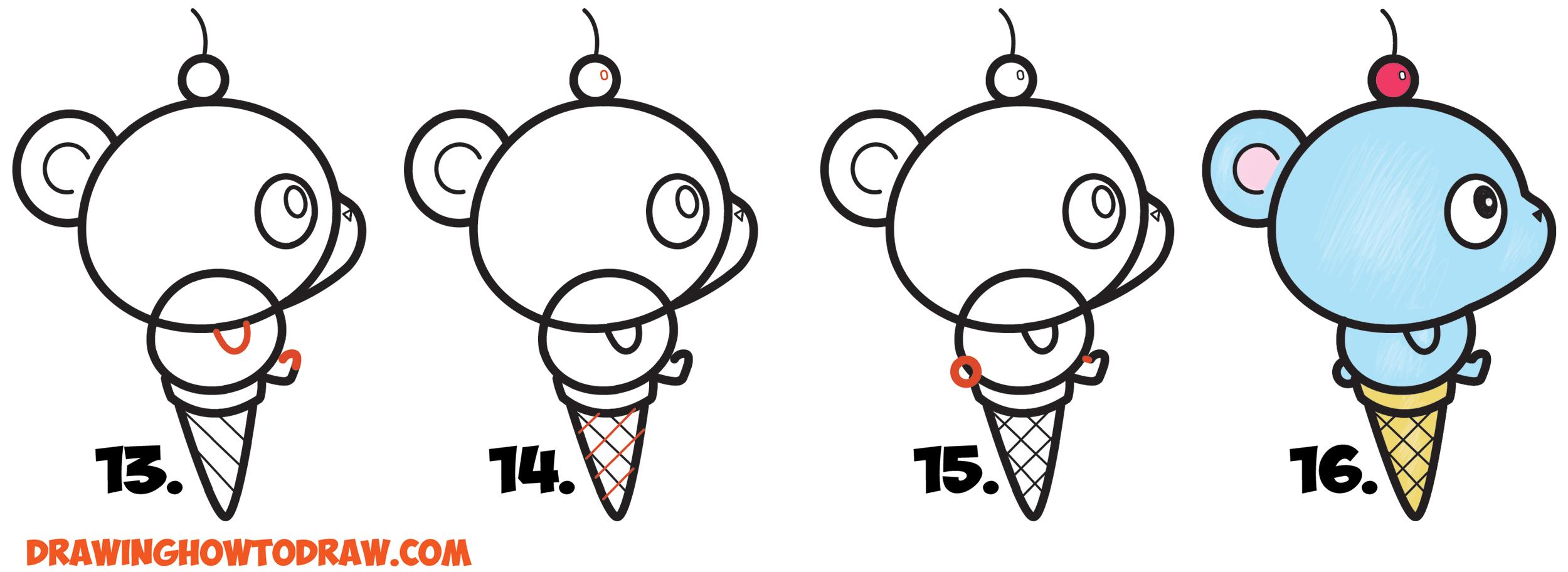 Drawn ice cream beginner step by step Draw on Cute Cream Learn