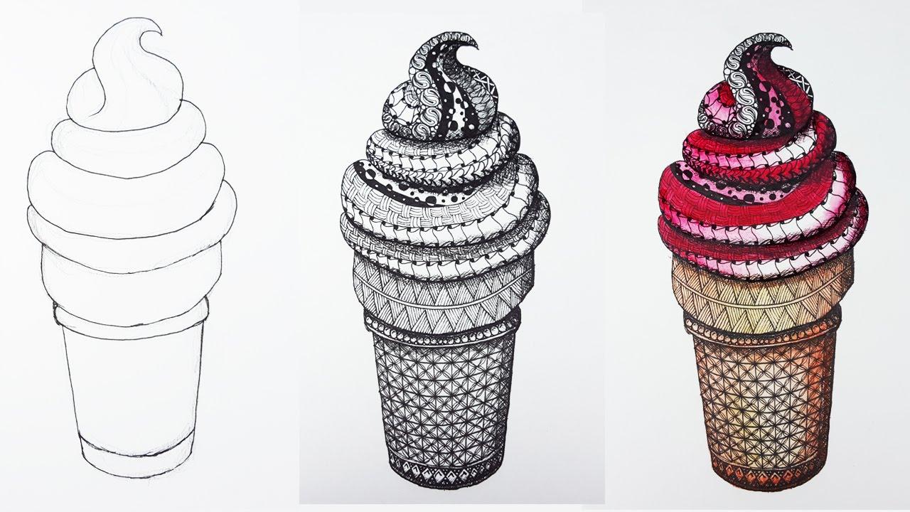 Drawn ice cream pencil drawing Watercolor ICE Pencils Watercolor YouTube