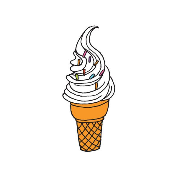 Drawn ice cream soft serve  Serve Soft
