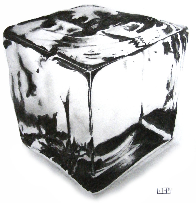 Drawn ice Crystal cube drawing cube pencil