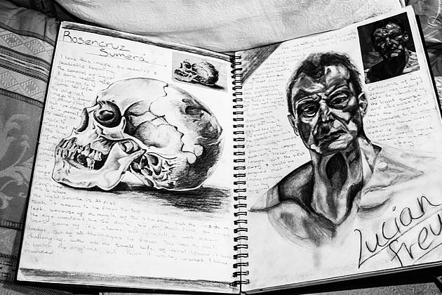 Drawn portrait a level art sketchbook Examples students presentation inspire striking