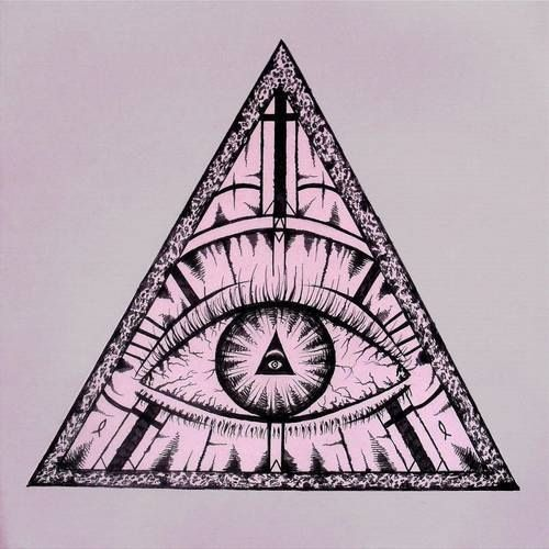 Drawn pyramid masonic Eye a line drawing curved