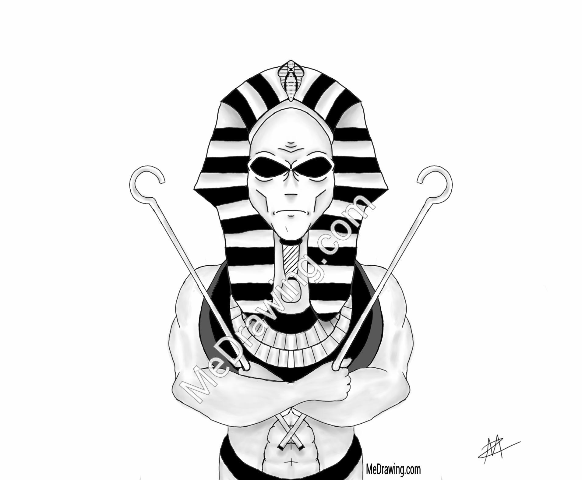 Drawn illuminati alien Pharaoh Aliens Drawing Aliens Egyptian
