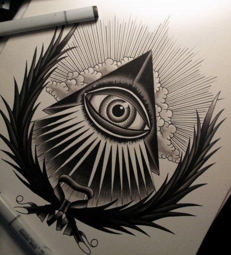 Drawn illuminati hand Seeing tatoos con Pinterest Eye