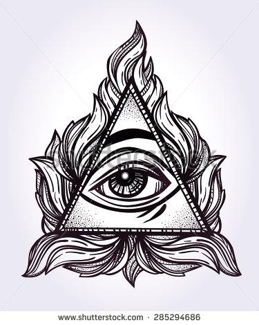 Drawn illuminati hand Poriadok svetový oko symbol oko