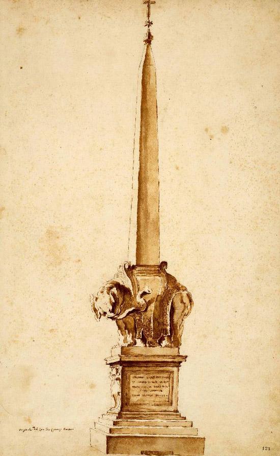 Drawn illuminati obelisk STUDY Cleopatra's c1902 Bernini (C