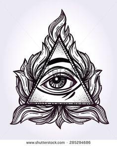 Drawn pyramid art Eye Order symbols drawn icons