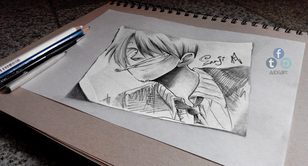 Drawn illusion Sanji 3D on Sanji Drawing