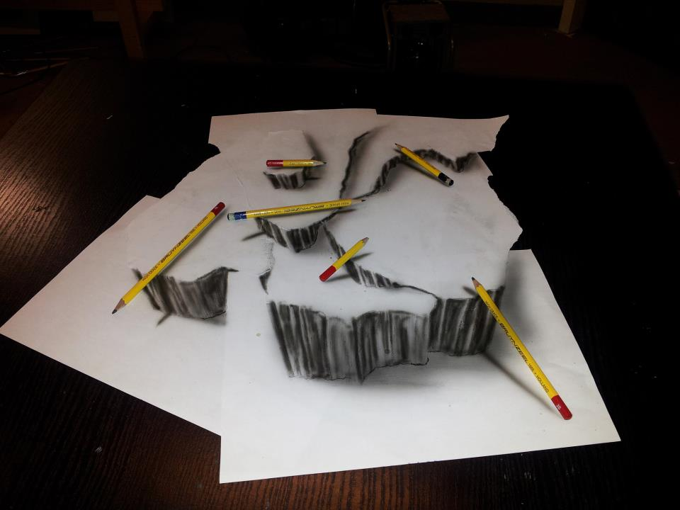 Drawn illusion Paper Rocks Optical Paper Optical