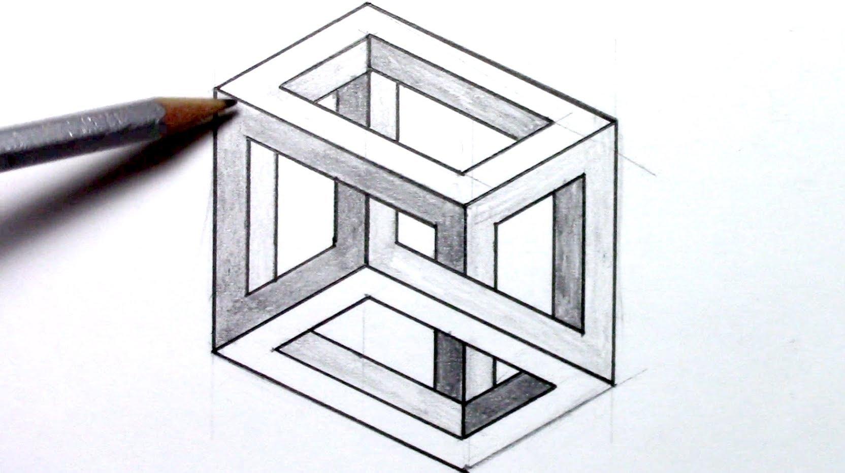 Drawn optical illusion  Illusion Cube an Illusion