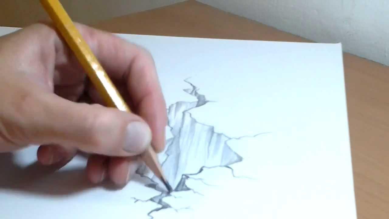 Drawn rock optical illusion Illusion A4 3D to draw