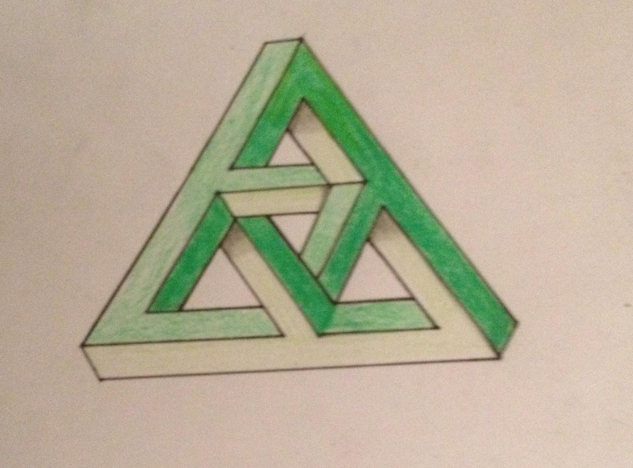Drawn illusion impossible cube Hand I » Illusions triangle