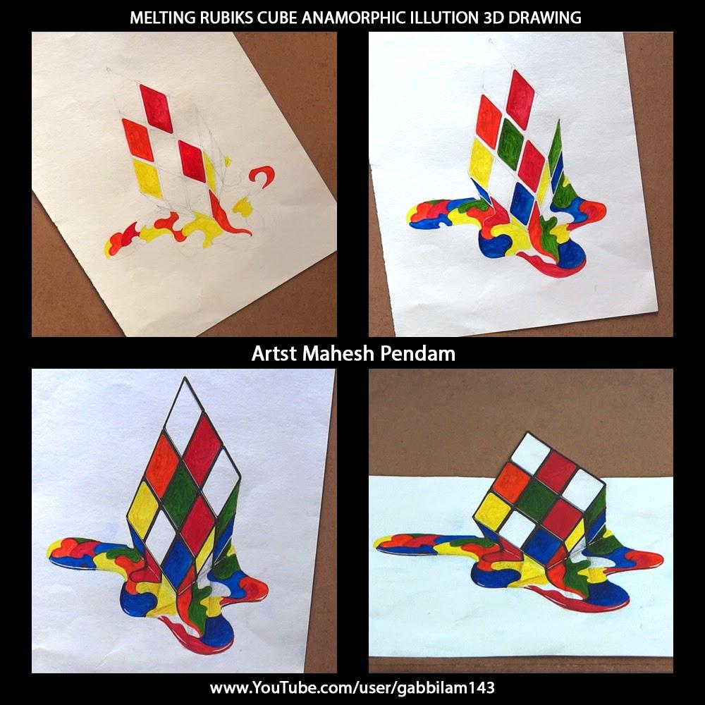 Drawn illusion rubix cube #1