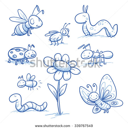 Drawn bug ant Animals: little cute insects small