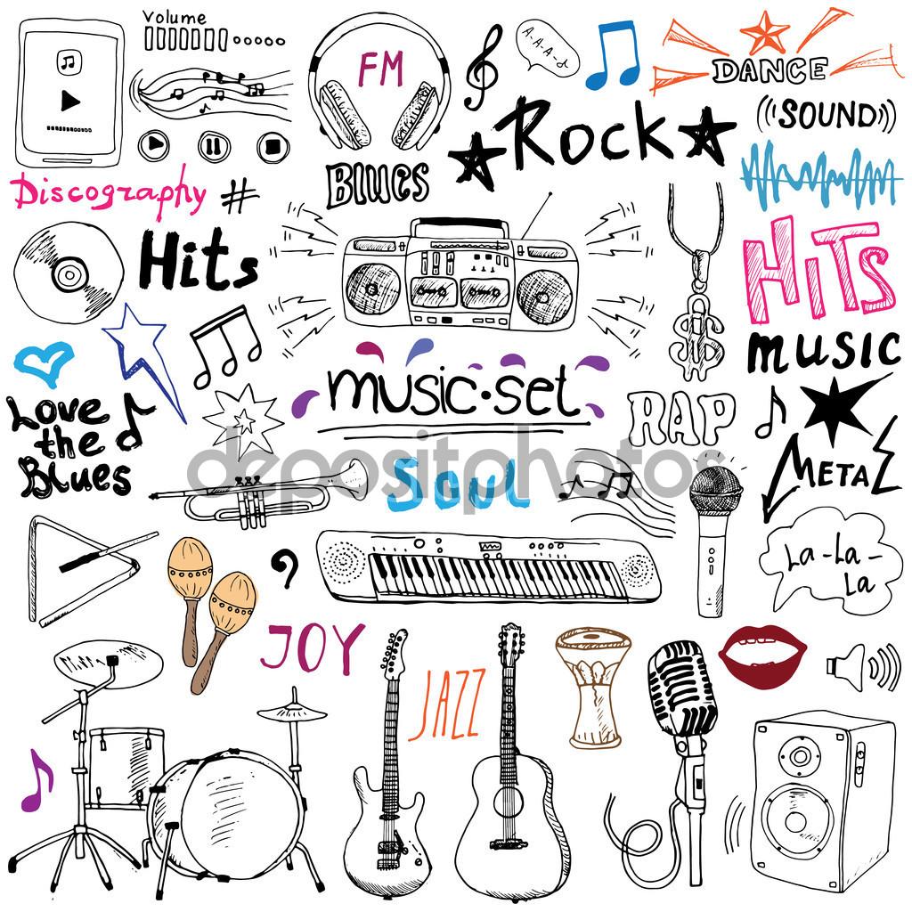 Drawn instrument doodle Hand doodle drawn set depositphotos_81794600