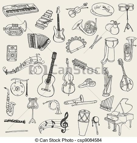 Drawn instrument graphic In hand Set Set drawn