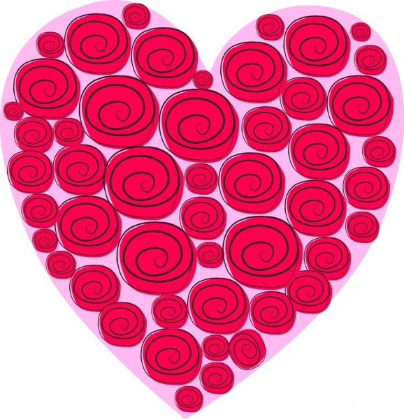 Drawn red rose heart Rose for 726 drawn heart