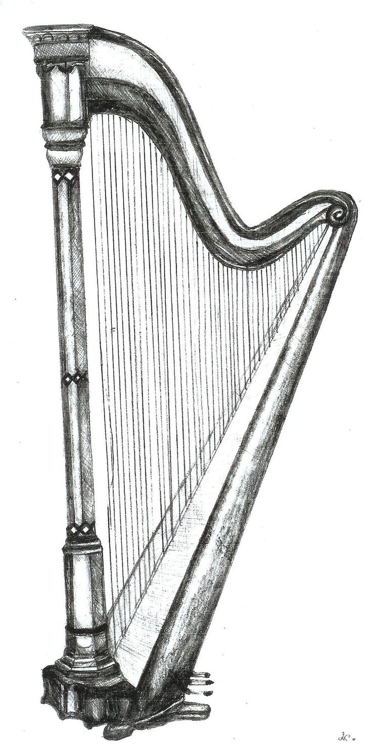 Drawn fluted  musical instrument On Artwork: Harp Instruments Drawings