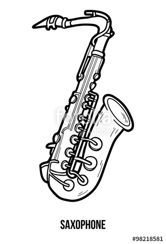 Drawn instrument saxophone Musical for book musical