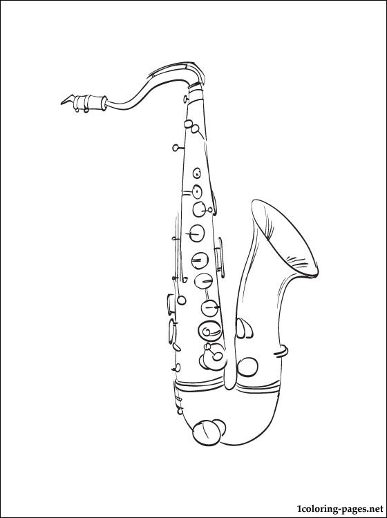 Drawn instrument saxophone Coloring Saxophone Coloring page coloring