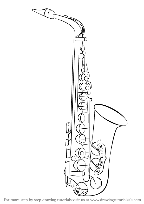 Drawn instrument saxophone By Instruments) (Musical a Learn