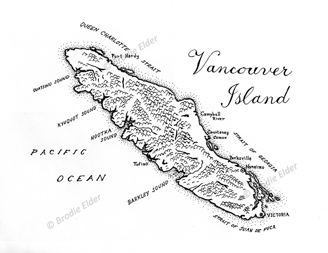 Drawn island Of Vancouver Vancouver Drawn Map